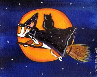 Pembroke Welsh Corgi Painting Corgi Art ~ Original Dog Art ~ BEWITCHING HOUR HALLOWEEN Corgi Witch With Cat Dog Art ~ Corgi Print  Dog Print