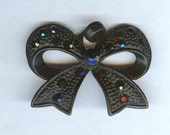 Black Lace Bow Pendant with Jet Black Rhinestones 40mm