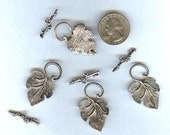 4 Tibetan Silver Large Fancy Leaf & Grape Cluster Toggle Clasps