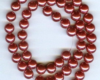 "8mm Elegant Raspberry glass pearls 15.5""  53 pcs"