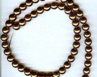 "8mm Elegant Bronze Glass Pearls 15.5""  53 pcs"