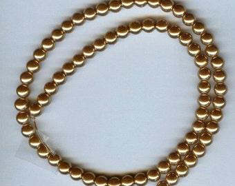"6mm Elegant Golden glass pearls 15.5""  70 plus pcs"