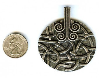 Highly Filigreed Antique Silver Celtic Design Pendant 60mm