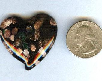 Handcrafted Lampwork Black & Copper Swirls Heart Focal Pendant 38x37mm