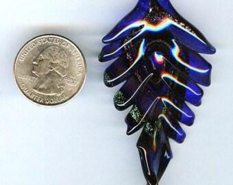 Royal Blue w/Copper Glitter Wavy Leaf Lampwork Glass Pendant 71mm