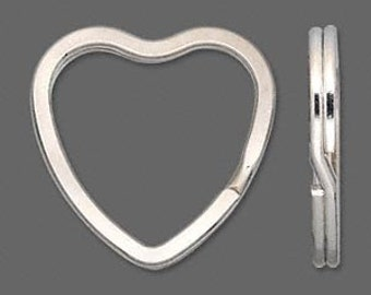 Heart Shaped Split Rings or Key Chains Silver 32mm 1 Pc