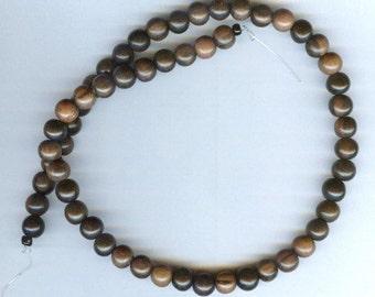 "8mm Unique Tiger Ebony Round Wood Beads 16"" Strand"