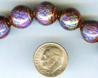 SALE! Round Ruby Mirage Mood Beads 12mm 1 pc