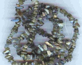 "Fiery Genuine Labradorite  Chip Beads Full 36"""