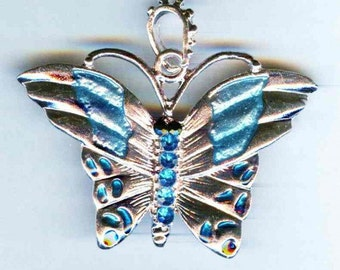 Bright Silver Ornate Butterfly Pendant Bead 50mm