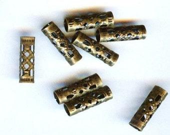 Vintaj Filigree Brass Tube Beads 12mm 4 Beads