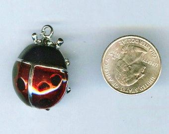 "Adorable Ladybug Dichroic Pendant in Shimmering Red & Black 1 1/2"" x 1"""