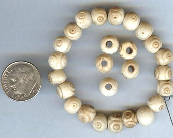 Tea Dyed Carved Round Bone Beads 8mm 25 pcs QUALITY