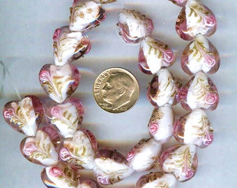 Gorgeous Plump Pink Raised Roses Lampwork Heart Beads 15mm 6pcs