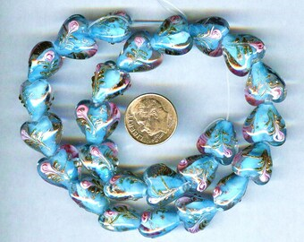 15mm Gorgeous Plump Blue Raised Roses Lampwork Heart Beads 6pcs