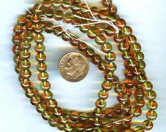 Czech Orange & Olive Green Smooth Glass Rounds 6mm 25pcs