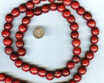 DESTASH Unusual Cranberry Red Variegated Round Wood Beads 14mm 20pcs