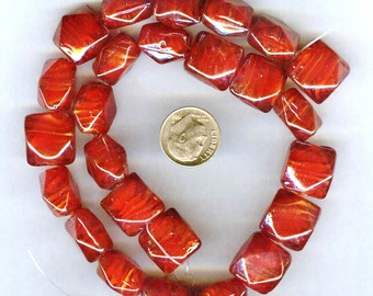 Gorgeous Plump Faceted Red Square Lampwork Beads 15mm 6pcs