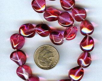 Smokin' Hot Czech Fuchsia & Red Faceted Nugget Glass Beads 12mm 10pcs