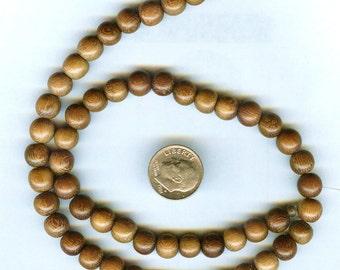 "8mm Unique Robles Round Wood Beads 16"" Strand 54 pcs"