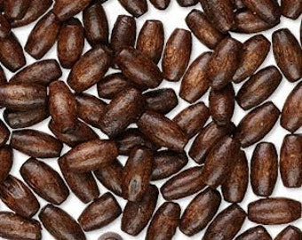 Unique Boxwood Dark Brown Rice Wood Beads 8x4mm 25pcs