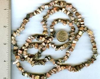 """Earthy Genuine Leopardskin Jasper Chip Beads Full 34"""""""