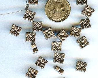Antique Silver Pewter Diamond Shape Celtic Beads 7x4mm 25pcs