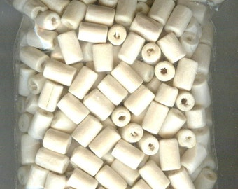 Nice Creamy White Tube Wood Beads 8x5mm 50pcs