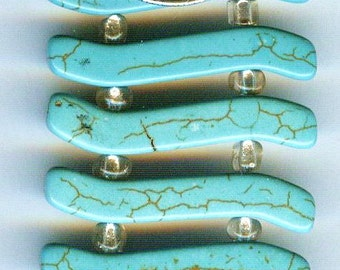 Fabulous Turquoise Double-Hole Slider Beads 32mm