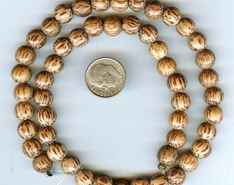 "8mm Rich Grainy Palmwood Round Wood Beads 16"" Strand"