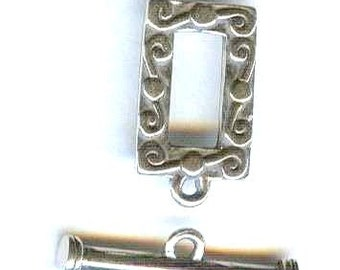 HANDMADE Bali Silver Scrolled Rectangle Toggle Clasp