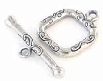 HANDMADE Bali Silver Etched Square Toggle Clasp