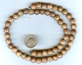 "10mm Unique Matte Palmwood Round Wood Beads 16"" Strand"