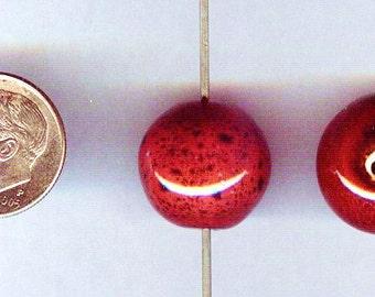 Handmade Porcelain Dark Cranberry Red Round Beads 16mm 6pcs