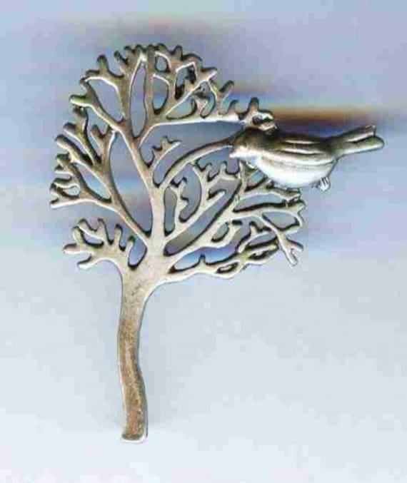 """Tree of Life wth Dove Matte Silver Pendant 1 3/4"""""""