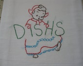 Little Dutch Girl Ready to Dry Your Dish   Hand Embroidered Dish Towel