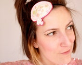 Thought Bubble Fascinator Headband with Iridescent Sequins, Yellow and Hot Pink Stitching