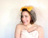 Blusher Wedding Veil, peach veil, yellow bow // custom colors available // Vintage, Retro-inspired for the non-traditional bride