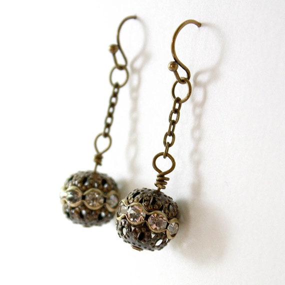 Mucha Inspired Art Nouveau Earrings // antique bronze, chain, rhinestones // Fairy Cages