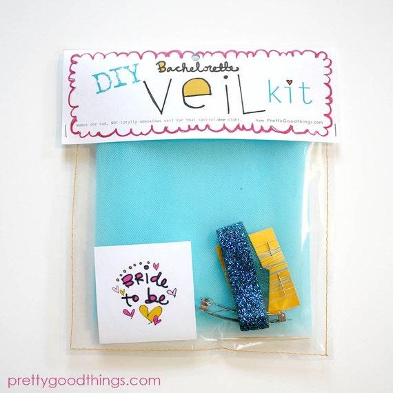 Clearance - FOUR (4) Electric Blue DIY Bachelorette Veil Kits // bachelorette, bridal shower activity idea // Do It Yourself Kit
