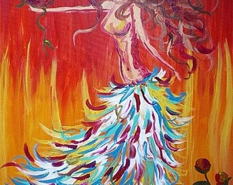 Original Acrylic on Canvas Painting - Liberated - Dancing Woman