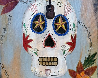 Original Day of the Dead Sugar Skull Painting - Rock and Roll