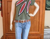 OOAK Upcycled Sunburst One-Shoulder Top, S/M, eco-fashion, repurposed t-shirt knit, by REVIVAL