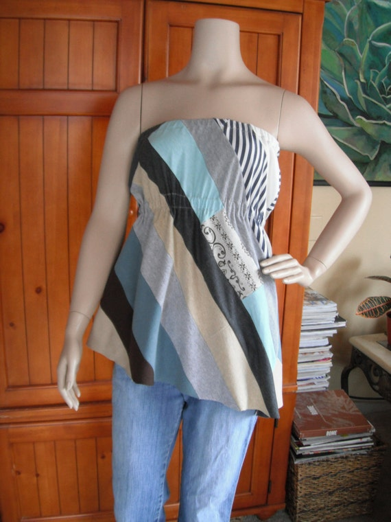Beachy OOAK Upcycled Tube Top Tunic, S/M, eco-fashion, repurposed t-shirt knit, by REVIVAL