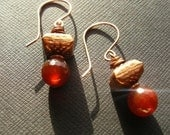 Faceted Carnelian and Bali Style Copper Bead