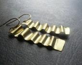 Gold Brass Ribbon Earrings