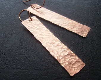 Hammered Copper Rectangle Earrings