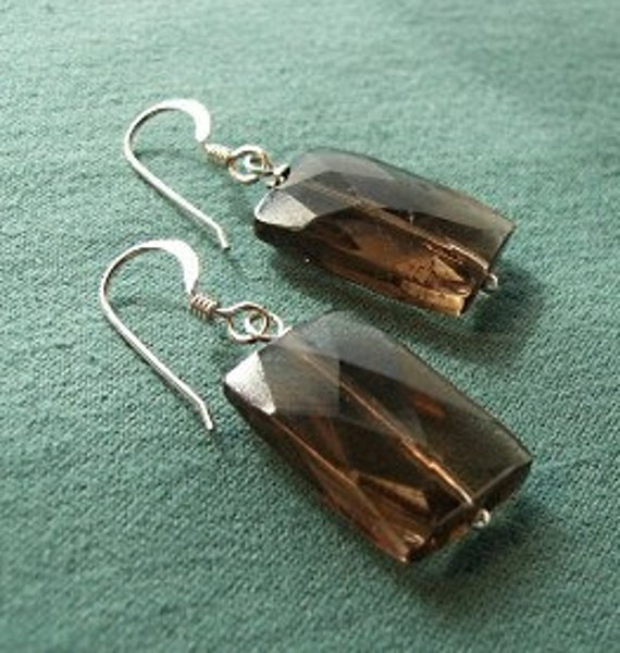 Simple Faceted Rectangular Smoky Quartz Earrings