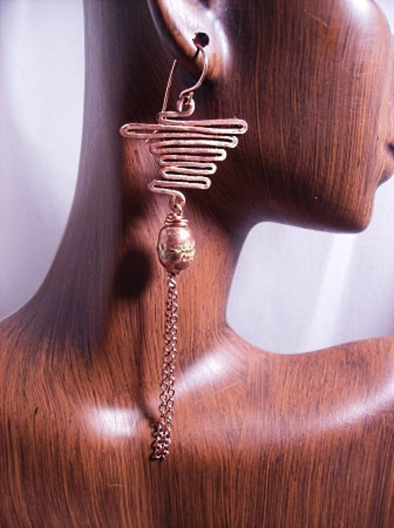 Zigzag Copper and Chain Earrings