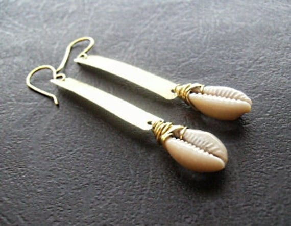 Gold and Cowrie Shell Earrings (Brass)
